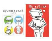 Robot Gift Set Stickers & Postcard Print
