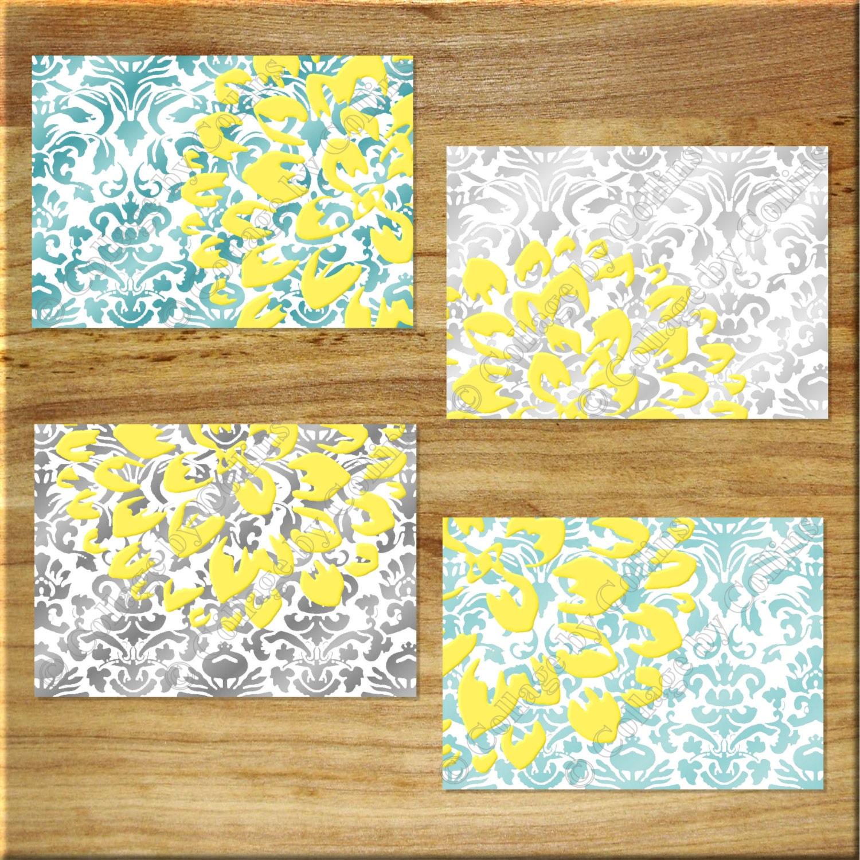 Damask design teal aqua gray yellow wall art prints decor for Wall decor for yellow walls
