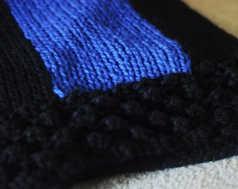 Knit Thin Blue Line Fallen Police Officer Remembrance Blanket/Throw