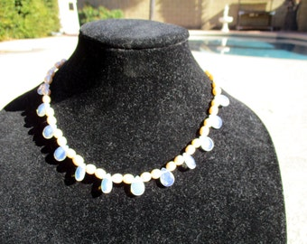 Vintage Freshwater Pearl with Fry Glass Necklace Pearl Strand Knotted 18 inches