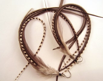 Super Long Feather Earrings slate gray with grizzly