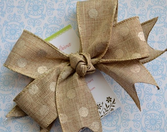 Shabby Chic Burlap with Golden Dots XL Diva Bow