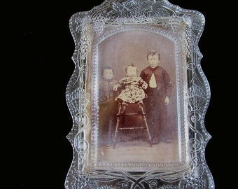 Rare 19thC Antique EAPG, Sandwich Glass Picture Frame