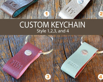 CUSTOM LEATHER KEYCHAIN  -   Style 1, 2, 3 and 4