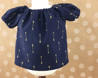 "Fits American Girl 18"" Dolls Peasant Top Navy with Metallic Gold Arrows Girls Toy"