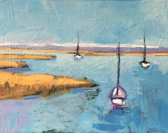 "Twilight Friday - Original Acrylic Oil Encaustic Seascape Painting 12""x 9"""