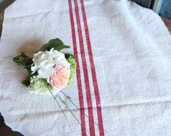 WEDDING tablecloth; TABLERUNNER; french RED stripes;  1.70 yards long