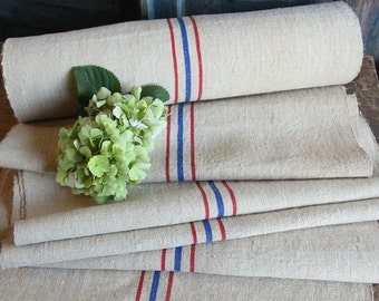 P 329 antique hemp linen roll FRENCH RED BLUE 천 grainsack fabric 14.75yards wedding decor lin 21.65wide