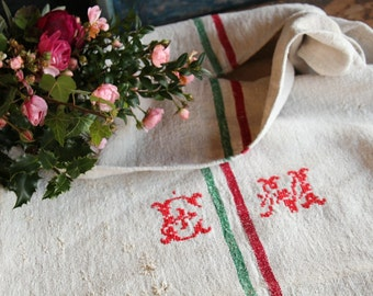 Nr. A404a: grainsack, antique linen, HAPPY  RED and GREEN;  organic pillow; benchcushion; christmas decoration; thanksgiving, wedding gift
