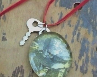 Angel / Cherub under glass pendant - Suede cord - Vintage keys - One of a Kind bycat