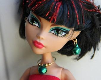 Green & Gold  Christmas Jingle Bells Beaded Charm Necklace Earrings Bracelet Doll Jewelry fits Petite Slimline High Dolls