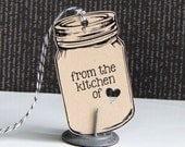 Mason Jar From The Kitchen Of Tags, Kraft Mason Jar Tags . Set of 6