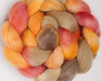Hand painted spinning fiber, Polwarth, Hand Painted top, roving, fibre, felt, spinning wool,combed top,  colour; Zinnia