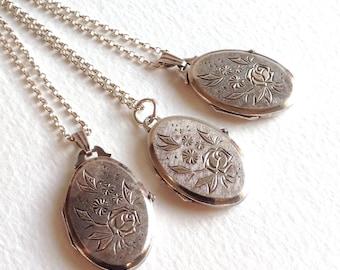 Vintage silver lockets set of three, bridesmaid necklaces, wedding necklace, Kordes & Lichtenfels silver