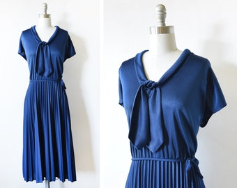 70s disco dress, vintage navy accordion pleated dress, 1970s sailor dress