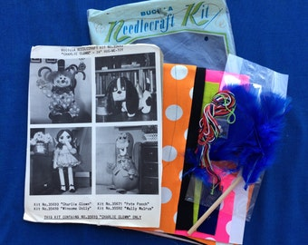 Vintage Clown Doll Sewing Craft Kit 60's Mod Retro 70's Needlecraft Fabric Mint with Package