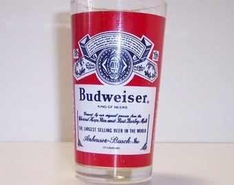 Vintage Budweiser Beer Glass, Bud Logo Graphics, King of Beers Barware, Drinking Glass