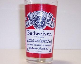 Vintage Budweiser Beer Glass, Bud Logo Graphics, King of Beers Barware