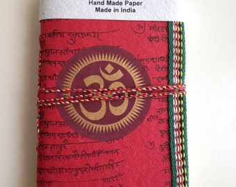 OM Chakra, Art Journal, Red Journal, Meditation Diary, Yoga Notebook, Pocket personal diary, spiritual notes, Blank Notebook,Sanskrit Mantra