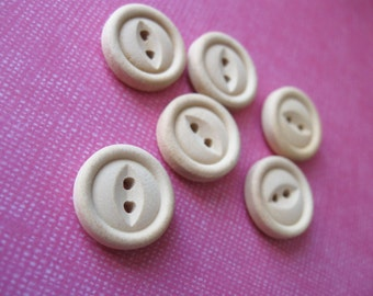 Unfinished wooden button 15mm - set of 6  (BB088)