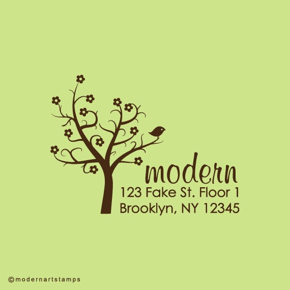 Custom Rubber Stamp   Custom Stamp   Return Address Stamp   Custom Address Stamp   Personalized Stamp   Tree with bird Stamp   C215