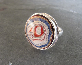 Genuine Fordite (Detroit Agate) Ring in Sterling Silver