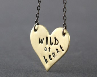 Valentines Necklace, Gold Heart, Brass Heart Necklace, Wild At Heart Necklace, Teen Necklace, Heart Necklace, Womens Necklace