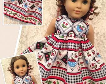 """Mary Engelbreit Cherry Border * Doll Dress fits 15"""" - 18"""" American Girl Bitty Baby My Twinn - sewnbyrachel"""