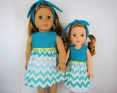 "14.5 inch doll clothes, 18 inch doll clothes, Turquoise chevron doll dress with headband, 18"" doll dress, 14.5 doll dress fashion doll dress"