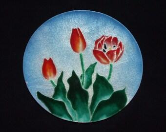 "Red Tulip Enamel Copper 8"" Plate Dish   0831"