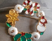 1 DAY SALE Vintage Snowman Gingerbread Brooch, Candycane Christmas Pin