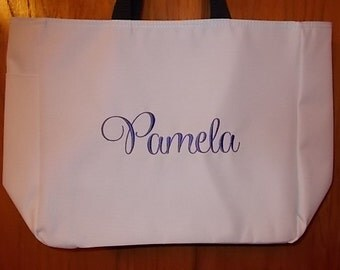 Set of 5 Personalized Embroidered Tote Bags Bridal Party Bridesmaid Gift