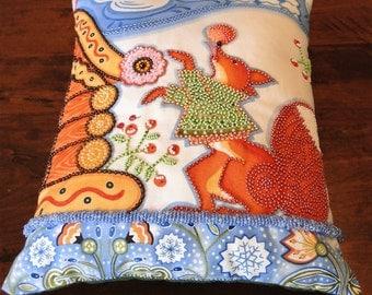 Orange Fox in a Green Sweater Winter Scene Beaded Art Pillow