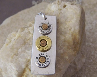 3 Bullet Aluminum Riveted Necklace