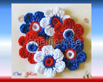 Crochet Flowers 6 Pieces White-Red-Navy