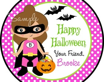 Girl Superhero Stickers, Halloween Stickers, Girl Superhero Tags, Personalized Halloween Tags or Stickers -set of 12