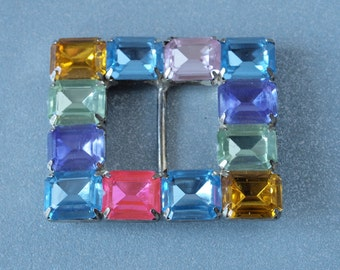 Bright Psychedelic Square Faceted Stones Belt Buckle Lucite