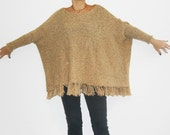 Women's Knit PONCHO Camel Two Sleeves Tasseled Southwestern Full Figures XL Oversized One Size Fits All