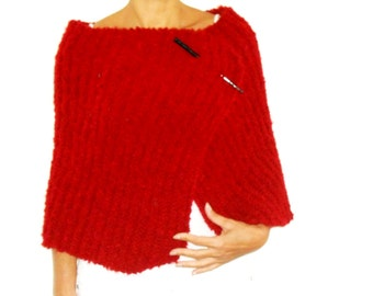 Red WRAP Handknit Shawl, Stylish Unique Shoulder Warmer for Women with Chopstick style Pin