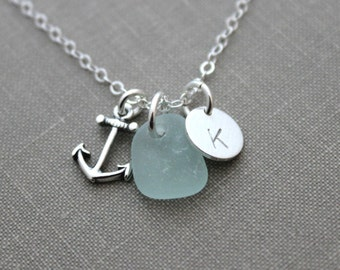 Genuine Sea Glass Jewelry, Sterling Silver Personalized Charm Necklace with Anchor, Seafoam Seaglass and Mini Initial Charm Beach Jewelry