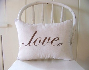 Love pillow - valentines day - gift idea - arrow - valentine's decoration - espresso - natural -