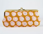 RESERVED // Eyeglass frame purse - Spools in yellow - Long purse / Eyeglass fabric case / Cell phone holder / Cotton and Steel