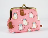 Metal frame purse - Smart cats on pink - Deep dad / Kawaii japanese fabric / White and brown kitties with glasses and bowties / blue cute