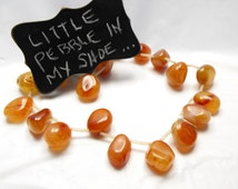 POLISHED CARNELIAN PEBBLES 00502a gemstone beads top drilled s-s 22-24mm rusty red tumbled free form agate stone nuggets 20 pc strand