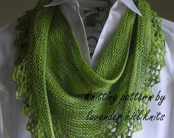 Knitting Pattern Downloadable PDF- Handpaint Scarf- crochet trim - scarf cowl shawl wrap -  pattern using handpaint sock yarn