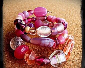 Pink Glass Memory Wire Bracelet