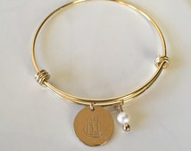 NCL Logo Adjustable Bangle Bracelet in Gold - National Charity League Jewelry