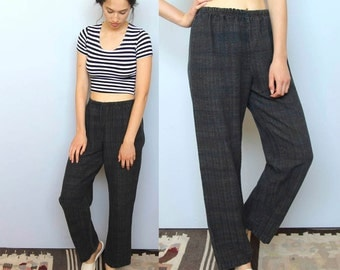 gravel -- vintage 80s woven wide leg cotton pants M/L
