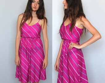 summer in the city -- vintage 80s striped day dress S