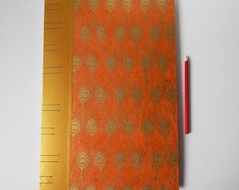 "Very Large Sketchbook, A3 size / 17.5"" x 11.75"".  Orange with gold peacock feathers. Art journal, drawing book. Gifts for artists."